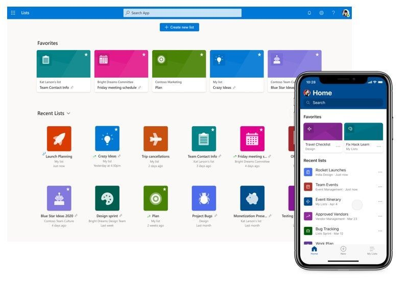 Lists home and app